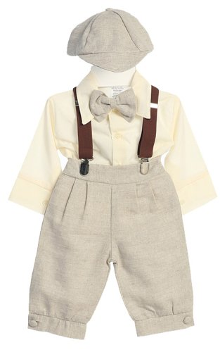 5 Pc Baby and Toddler Boys Vintage Style Easter Suit - Shirt, Suspenders, Bow Tie, Knickers and Cap
