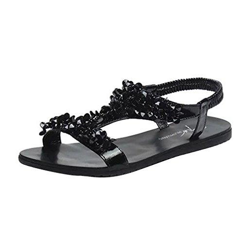 Vovotrade® Frauen Sommer Strand Schuhe Komfort Sandalen Sommer Flip Flops Mode Flachen Gladiator Schwarz