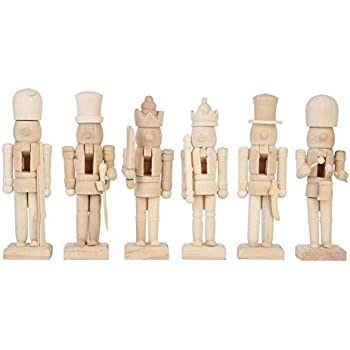 URMAGIC 6Pcs Wooden Nutcracker Soldier Figurines Ornaments,Christmas Nutcrackers for Kids Xmas Gift,Unpainted Puppets Figures Doll for Christmas Table Decorations