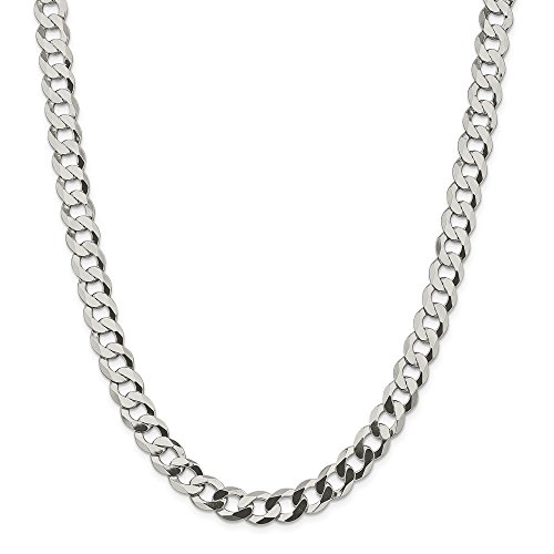 Sterling Silver 9.75mm Close Link Flat Curb Chain by JOlivers