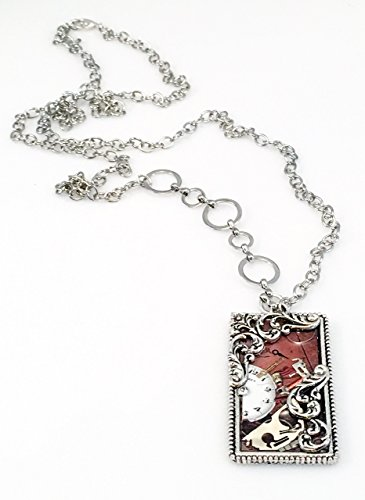Antiqued Pewter Rectangle Watch Parts Necklace. - Pewter Part