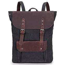1101836243bd8 5 ALL Damen Herren Studenten Vintage Retro Canvas Leder Rucksack  Schultasche Reisetasche Daypack Uni Backpack 15