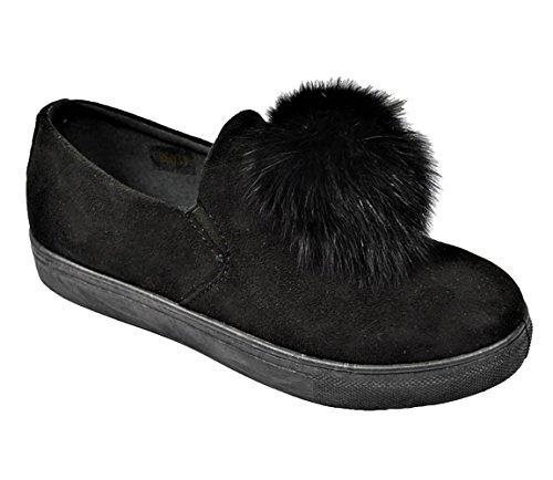 Golden Road G.N.D Women Slip On Casual Pom Pom Suede Fashion Sneaker # GR6033 Black bMVdEYzJUe