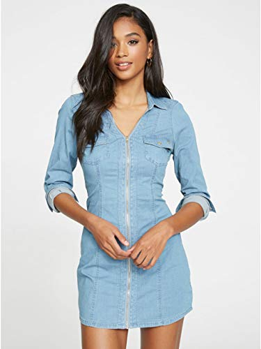 G by GUESS Women's Janina Denim Zip Collar Shirtdress