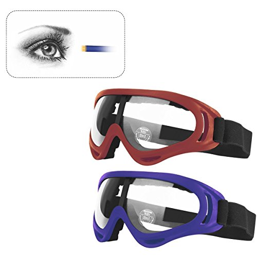 Fstop Labs Gun Blaster Face Mask, Tactical Protective Goggles Glasses and Face Tube Mask for Nerf Guns N-Strike Elite Series, with 4 Pack Face Mask and 2 Pack Protective Glasses (Blue and Red)