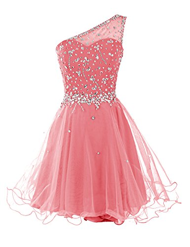 One Bead Short - Dresstells Short One Shoulder Prom Dresses Tulle Homecoming Dress with Beads Coral Size16