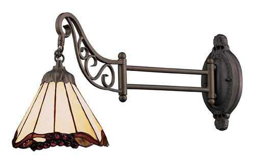 Elk 079-Tb-03 Grape Trellis Mix-N-Match 1-Light Swing Arm Sconce, 12-Inch, Tiffany (Grape Trellis One Light)