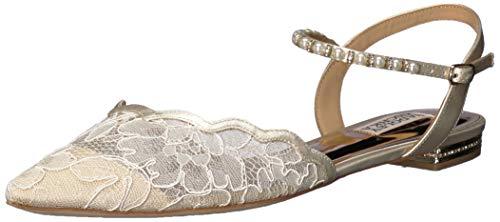 Badgley Mischka Women's Lennon Ballet Flat, Ivory lace, 9 M US