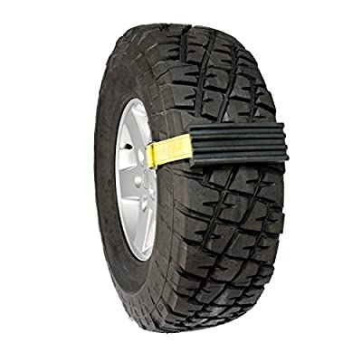 "Trac-Grabber - The ""Get Unstuck"" Traction Solution for Vehicles - Emergency Rescue Device, Prevents Slipping in Snow, Sand & Mud - Chain or Snow Tire Alternative (Set of 2 Blocks & Straps)"