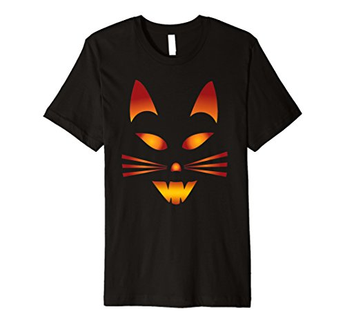 Mens Cute Cat T Shirt Gift - Pumpkin Face Cat Shirt Large Black
