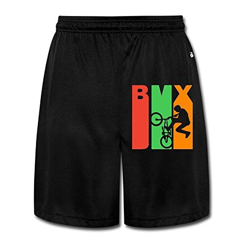 Retro 1970 Jersey (Retro 1970's Style BMX Silhouette Mens Casual Loose-Fit Running Jersey Shorts)