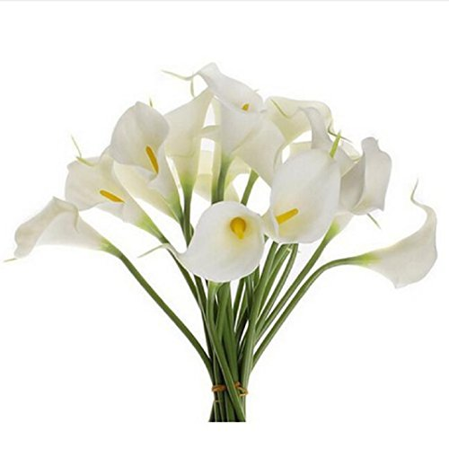 Iuhan 10pcs Mini Artificial Calla Lily Wedding Flowers Bouquet Calla lily Foam Decor (White)