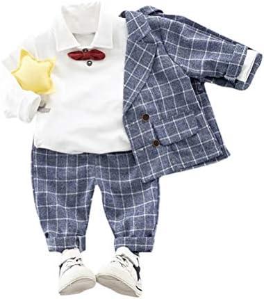 AMIGGOO 男の子 フォーマル スーツ チェック柄 3点セット 紳士服 フォーマル 子供スーツ ベビー服 子供タキシード 洋装フォーマル ボーイズ Tシャツ おしゃれ ブラウン ブルー 80 90 100 110