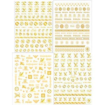 Luxury Nail Sticker Nail Art Decals Nail Art Adhesive Sticker Nail Art Supplies Nail Foil three-D Gold Sticker for Acrylic Nail(4 Sheets )