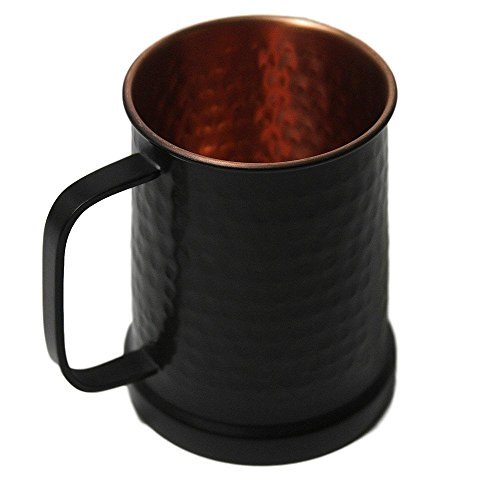 German Style Black Hammered Copper Beer Stein - 100% Pure Heavy Gauge Copper Beer -