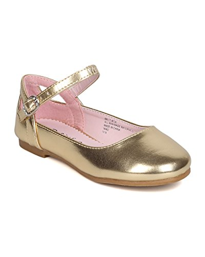 Cut Out Ballet Flat (Little Angel GB36 Girls Metallic Leatherette Ankle Strap Cut Out Ballet Flat (Toddler Girl) - Gold (Size: Toddler 4))