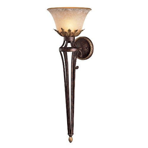 Metropolitan N2235-355 Zaragoza Collection Wall Sconce, Golden Bronze Finish with Salon Scavo Glass