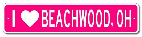"The Lizton Sign Shop Beachwood, Ohio - I love City, State Custom Novelty Aluminum Sign - Pink - 9""x36"""