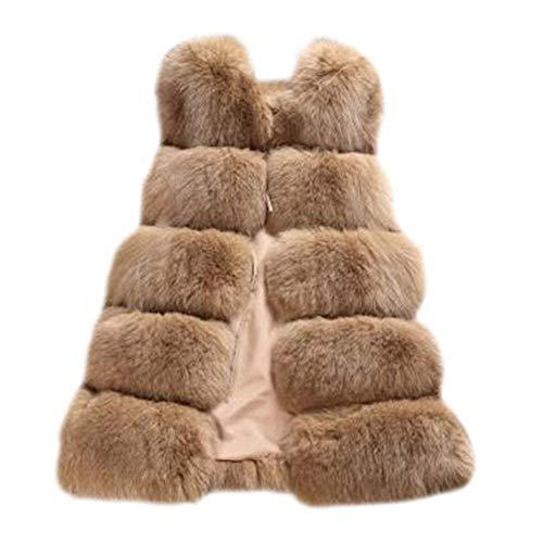 Faux Kahki Chaleco Chaqueta de cálido Chaleco Outwear Chaleco FOLOBE Mujer Fox Fur Delgado Elegante dFq776Ow