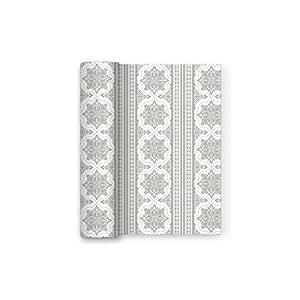 Mantel plateado de papel con decorado ideal para comuniones, bodas, cumpleaños, fiestas y aniversarios - Colección Especial - 1,2 x 5 m