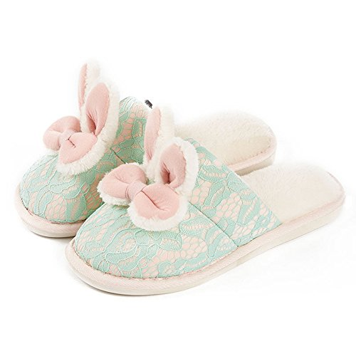 Eastlion Women's & Children's Lovely Winter Keep Warm Anti-Skid Plush Home Indoor Shoes,Sippers Green Lace Bunny