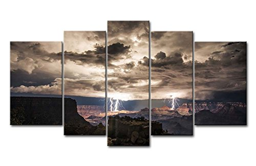 - 5 Piece Wall Art Painting Lightning Strikes In The Grand Canyon Dark Cloud Pictures Prints On Canvas Landscape The Picture Decor Oil For Home Modern Decoration Print For Kids Room