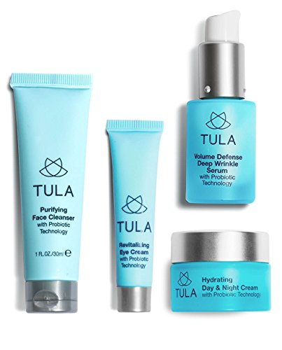 TULA Probiotic Skin Care Anti-Aging Discovery Set - Travel-friendly Starter Kit with Cleanser, Day & Night Moisturizer, Deep Wrinkle Serum, Eye Cream for Hydrated and Youthful Skin