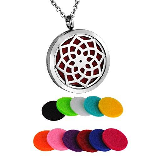 Round Flower Locket - HooAMI Aromatherapy Essential Oil Diffuser Necklace - Stainless Steel Lotus Flower Round Locket Pendant