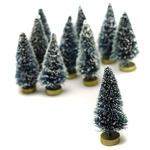 Darice Sisal Tree - Green with Frost - 3 inches - 10 Pieces - Big Value