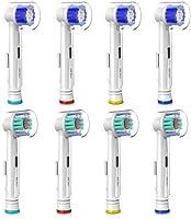 Testine Ricambio per Spazzolino Elettrico Oral B - Precision Clean e 3D White, Compatibili con l'intera gamma di spazzolini elettrici Oral B, con Coperchio, Confezione da 8 Pezzi