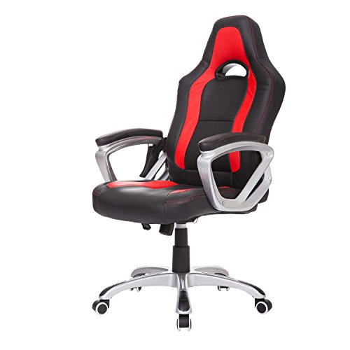Chair Style Bucket Seat Race Car High Back Office Gaming Desk Swivel PU Leather Heated Massage Executive New Black/Red (Manchester Swivel Desk Chair)