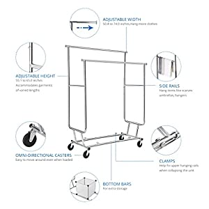 Floureon Collapsible Adjustable Double Rail Rolling Clothing Garment Drying Rack, Chrome Finish
