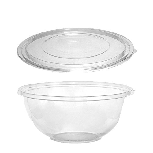 (Party Essentials N216021 Soft Plastic 160-Ounce Serving/Catering Bowls, Clear with Clear Lids, Set of)