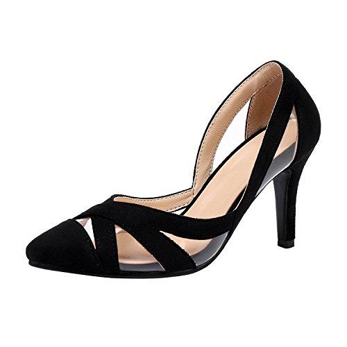 YE Women's Stiletto High Heels Court Shoes D'Orsay Slip On Closed Toe Summer Pumps Black PUVvmv8r