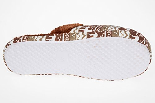Unbekannt - Zapatillas de estar por casa de tela para hombre Marrón - marrón