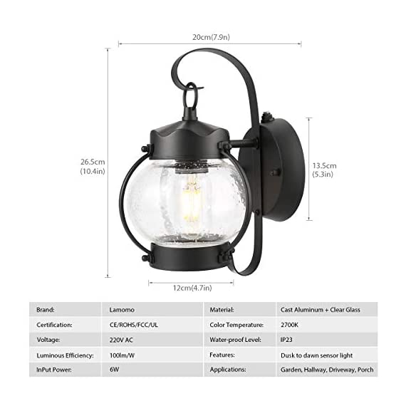 Dusk to Dawn Sensor Wall Lantern Outdoor Light Fixture Wall Mount, Black Exterior Led Outdoor Lighting Porch Light with E26 Base Socket, Anti-Rust Seeded Glass Waterproof Wall Lamp for Garden, Garage - 【NOT Motion/Solar Type】Dusk-to-dawn photocell porch lights,turn night into light;automated turns ON at sundown/night, OFF at sunrise/daytime, help saving money. 【Easy Installation 】All mounting accessories are included for quick and easy installation . Open bottom allows to replace bulb easily. During 1 years after the purchase, with any problem, please feel free to CONTACT US for a satisfactory solution. 【Superior LED Bulb Included】no need to buy a light bulb separately. High output up to 750 lumens, the light diffuses to a larger area, illuminates your way home at night. Replaces 60W incandescent vintage bulbs by 6W LED only, save up to 90% energy. - patio, outdoor-lights, outdoor-decor - 41ZnAgHlxcL. SS570  -