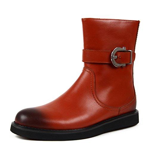 Herren Lederschuhe Winter Herren Leder Stiefel kurze Martin Stiefel britischen Stil Armee High Heel Schuhe Tooling Boots Herrenschuhe ( Farbe : Braun , größe : EU38/UK5.5 ) Braun
