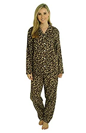 Del Rossa Women's Flannel Pajama Set - Large / 8-12 - Natural Leopard