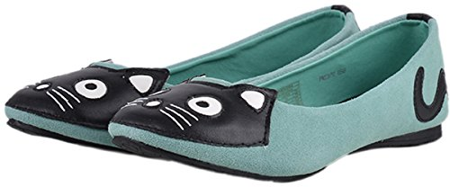 T.U.K Suede KITTY FACE Katzen Ballerinas Mint Green Rockabilly Pin Up Leder Vint