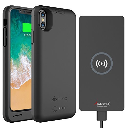 Alpatronix BXX + CX101 Portable Power Bundle includes 4200mAh iPhone X Battery Case Compatible with Qi Wireless Charging & 10W Thin Non-Slip Fast-Charging Wireless Charger Pad for Qi-enabled Devices by Alpatronix