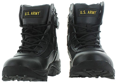 Us Army Tactical Mens Combat Leather Boots Service Law Enforcement Black / Black