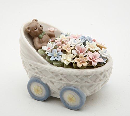 Ceramic Collectible Teddy (Cosmos 58009 Fine Porcelain Teddy Bear in Flower Buggy Figurine, 2-1/2-Inch)