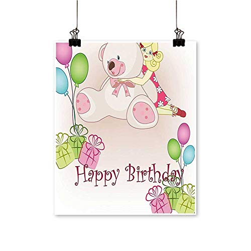 Rich in Color Kids Baby Girl Birthday Bears Ballo Box Doll Image Light Pink Print Decor for Living Room,24