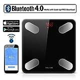 TECHVIDA Bluetooth Balanza de Grasa Corporal Digital Bluetooth 4.0 Inalámbrica Inteligente,59 datos Relacionados Analizador de Composición Compatible con las Aplicaciones de IOS y Android, Gerente de Peso Perfecto