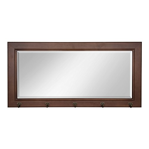(DesignOvation Pub Mirror with 5 Metal Hooks, Satin Walnut)