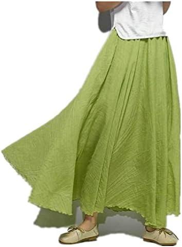 Jellbaby - Falda de algodón y Lino de Estilo étnico con Faldas y Faldas de Color sólido, Grass Green, 85 cm: Amazon.es: Hogar
