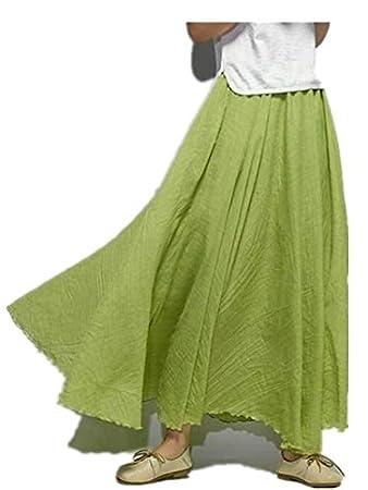 White 85 cm Jellbaby cotone e lino stile etnico colore solido gonne e gonne vestito una gonna