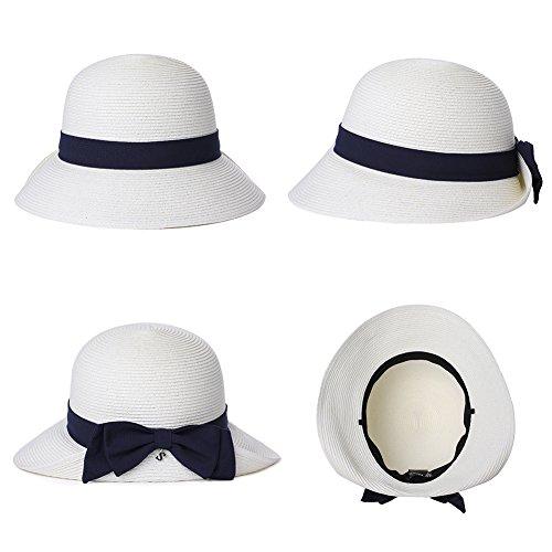 SiggiHat Womens Sun Summer Straw Beach Hat Floppy Fashion Stylish Travel Panama Fedora Hats Foldable UV White by SiggiHat (Image #2)