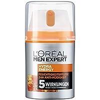 L'Oreal Men Expert Hydra Energy vitalisierende Feuchtigkeitspflege, für normale und sensible Männerhaut, 24H Anti-Müdigkeit mit Vitamin C und Guarana (2 x 50 ml)