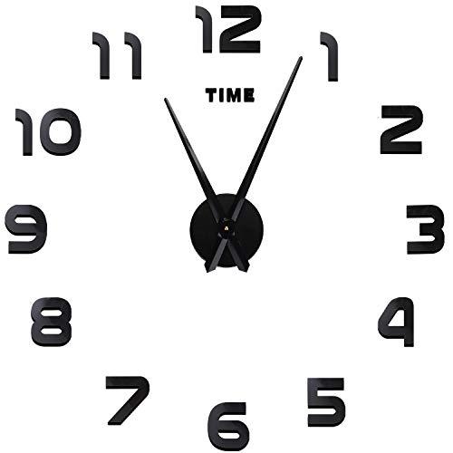 SOLEDI Modern DIY 3D Sticker Frameless Number Wall Clock Decoration Craft for Home Bed Room Decoration ()